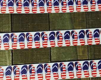 Patriotic Ribbon, Red white and blue ribbon, Memorial Day Ribbon, 4th of July, Flip Flop Ribbon