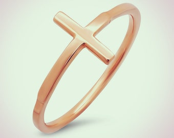 14K Rose Gold Sideways Cross Fashion Ring, Sideways Cross, Cross Ring
