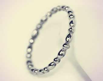 14K White Gold Oval and Round Beaded Midi Fashion Ring/ Midi Ring/ Knuckle Ring/ Stacking Ring/ Upper Finger Ring/ Gift for her