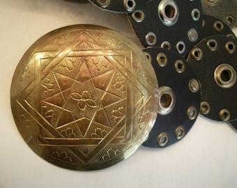 Vintage Black Leather Moroccan Belt with Brass Medallion
