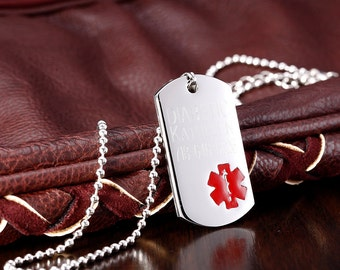 Personalized Stainless Steel Medical ID Dog Tag