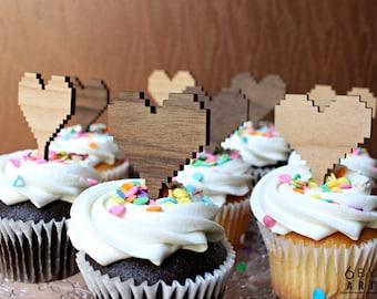 8 bit Heart Cupcake - Cake Toppers 6 pc Reusable Set