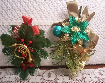 Two Vintage Christmas Corsages