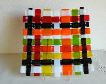 Woven Fused Glass Plate, Fused Pillar Candleholder,Fused Glass Dish, Home Decor, Housewares, #WB601