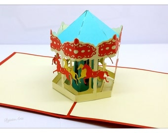 3D Pop Up Merry-Go-Round Card