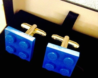 Blue Lego cufflinks gift boxed orange, green, white, red colours