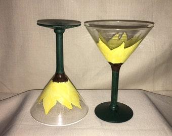 Sunflower Martini Glasses