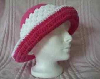 Womens hat is handmade Fuchsia and white