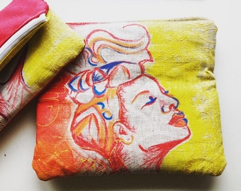 Hand painted clutch, hand painted, creole woman in scarf Pocket
