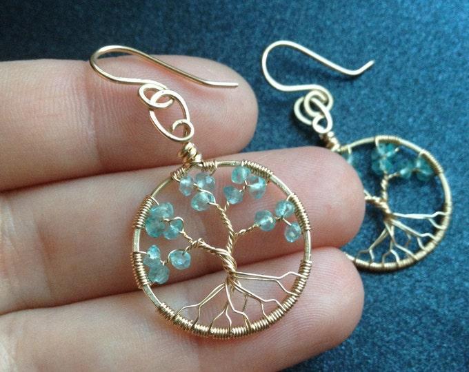 Tree Earring Apatite Gemstone Earrings Tree-Of-Life Gold Earrings Apatite Earrings March Birthstone Pisces Gold Jewelry Peace Amulet Jewelry