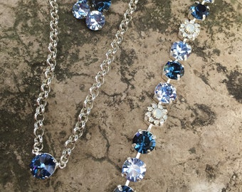 Shades of blue swarovski Jewelery set