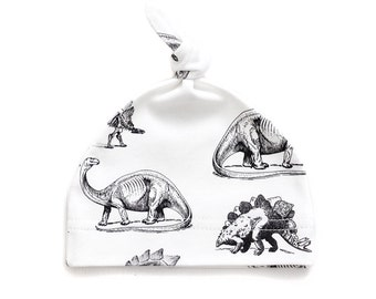Black&White Dinosaur Organic Cotton Baby Knotted Hat, Beanie