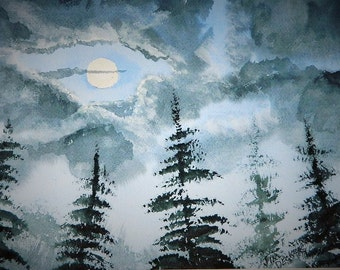 MOON LIGHT PAINTING  FirTrees, Moon Light Landscape, Original Watercolor,Night Time Painting, Night Mainew Artist