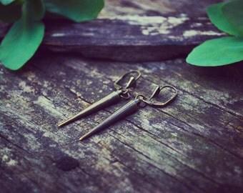 Brass Spike Earrings - Brass spear dangle earrings - EmmaLeah Designs