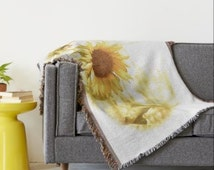 Sunflower Throw Blanket, Sunflower Cotton Blend Throw, Lightwieght Sunflower Summer Throw, Cottage Chic, Shabby Chic, by SouthernComfortArt