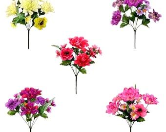 Artificial Flowers Dahlia Anenome Foxtail Posy Bouquet Silk Memorial