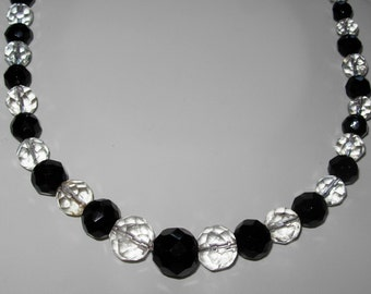 Long 1930s Faceted Black and White Bead Necklace