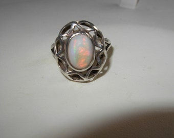 Antique Silver and Opal Ring