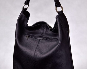 Huge Leather Tote HOBO With Long Strap Black Color