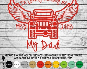 In Memory Jeep Angel Wings -  Vinyl Decal Sticker - Available in variety of sizes and colors