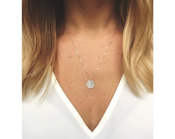 Hammered Disc necklace / Sterling Silver / 14k Gold Filled / Disc Necklace