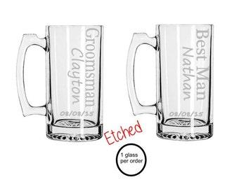 Groomsmen Gift, Engraved Groomsmen Beer Mugs, Custom Beer Mug, Monogram Glasses, Wedding Glasses,Engraved Beer Mug, Personalized Mug