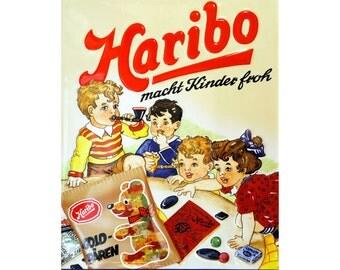 Haribo Sweets -  Vintage Advertising Enamel Metal TIN SIGN Wall Plaque
