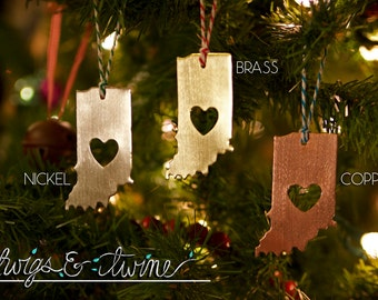 Indiana Christmas Ornament with Heart Cut-Out