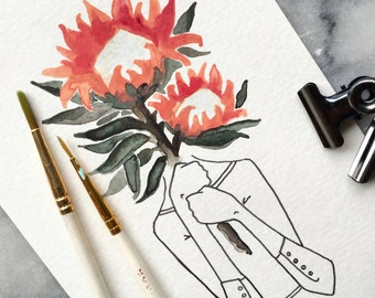Florence Goes Floral with a Protea Flower // PRINT FLOWER PROTEA Floral Art Gallery Wall Watercolor