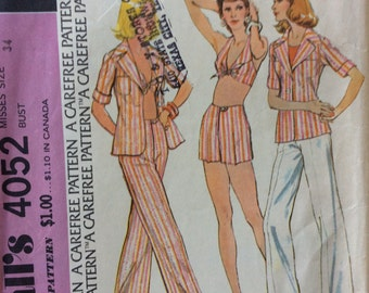 McCall's 4052 vintage 1970's misses shirt-jacket, halter top and pants or shorts sewing pattern size 12 bust 34