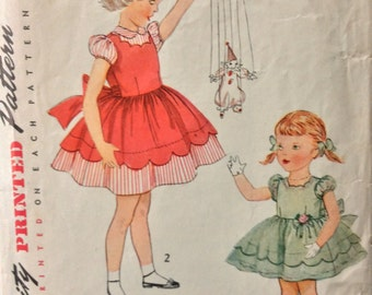 Simplicity 3808 girls dress size 2 vintage 1950's sewing pattern