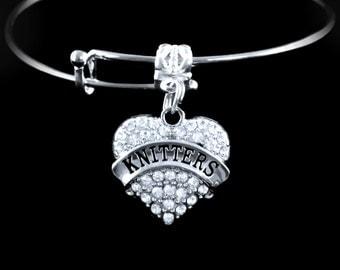Knitters Bracelet Crystal heart Knitters charm bracelet Knitters Jewelry