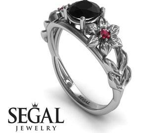 Flower Engagement Ring 14k White Gold Unique Ring Leaf Engagement Ring Black Diamond Ring Alternative Ring Flower Engagement Ring - Ella