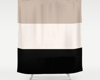 black and tan shower curtain. shower curtain tan black bathroom colorblock classy decor neutral beige and d