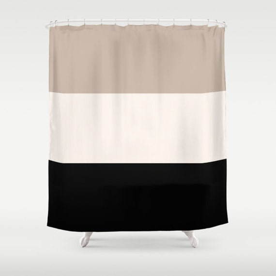 Shower Curtain Tan Black Bathroom Shower Curtain Colorblock Shower ...