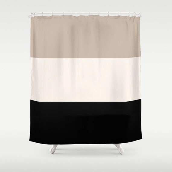 Shower Curtain Tan Black Bathroom Shower Curtain Colorblock