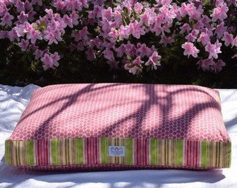 NEW * Dixie Dog Bed * Small * Pink * Green * Stripes * Kravet * DotKat * Embroider * Custom Cover Dogbed Pillow