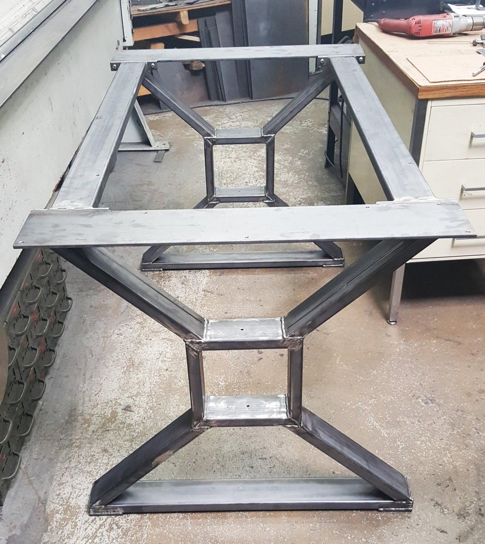 Industrial Unique Metal Designer Coffee Table: Modern, Industrial Dining Table X Legs, Model #TTS09B