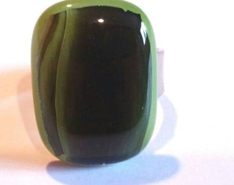 Green ring adjustable oval  fused glass handmade