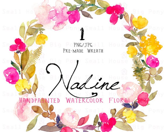 Digital Clipart- Watercolor Flower Clipart, flower Clip art, Floral Bouquet Clipart, wedding flowers clip art- Nadine Wreath