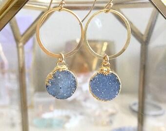 Druzy & Hoop Earrings // Druzy Earrings // Geometric Earrings // Gold Earrings // Boho Earrings