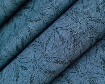 Denim blue wool kimono fabric - by the yard- Fall grasses