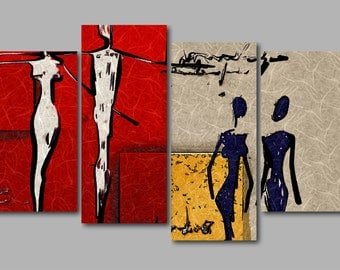 XL Abstract Cool Modern Artwork Red Grey Yellow 4 Panel Split Canvas Picture Wall Art