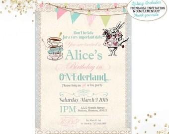 Alice in Wonderland 1st Birthday Invitation Alice In ONEderland Invitation ONEderland Tea Party Invitation Vintage Alice In Wonderland Party