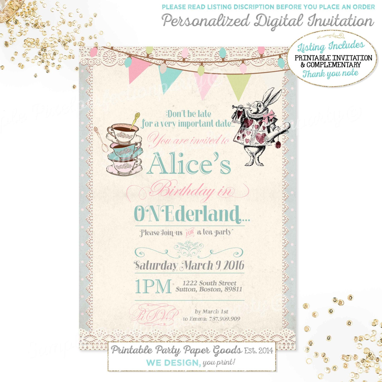 Alice in Wonderland 1st Birthday Invitation Alice In