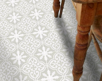 Vinyl Floor Tile Sticker - Floor decals - Carreaux Ciment Encaustic Floc Tile Sticker Pack in Stone Birch