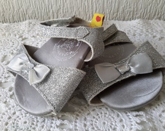 Authentic Build A Bear glitter silver strappy heeled sandals