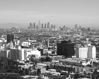 Los Angeles Art, Black and White, Photography Print, Skyline Picture, Hollywood Photo, California Decor, Wall Art, Travel Photo, 8 x 10 Art