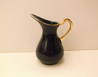 Miniature Royal Blue Vase With 22k Gold Plated Handle/Trim