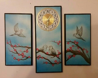 3 piece hand painted wooden clock